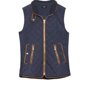 Fate rowen navy quilted faux leather vest medium